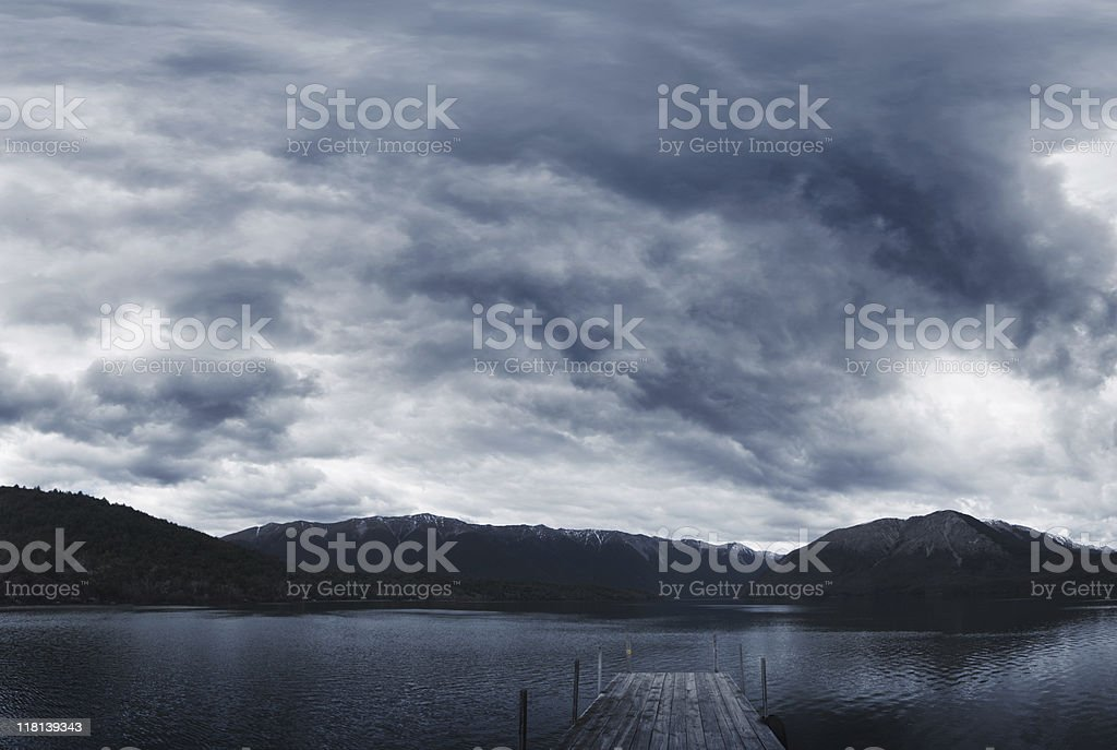 Jetty on Rotoiti lake, New Zealand stock photo