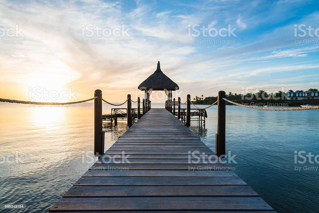 Jetty Pavillion Mauritius Island at Sunset Africa Lizenzfreies stock-foto