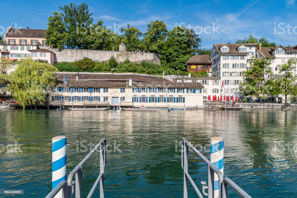 Jetty to River Limmat in Zurich stock photo