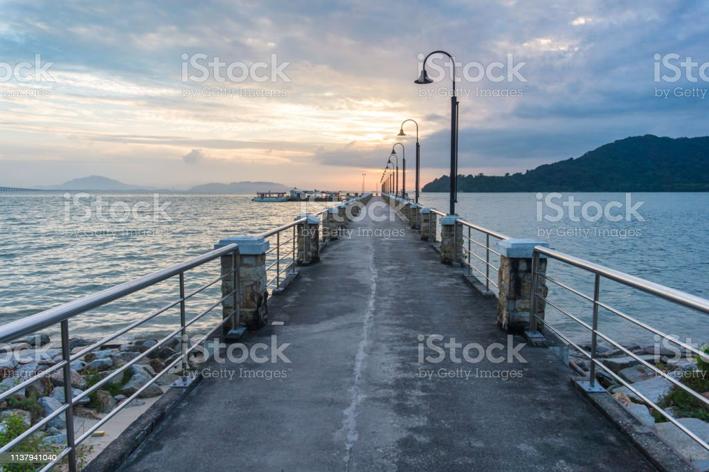 Jetty view with morning sun stock photo