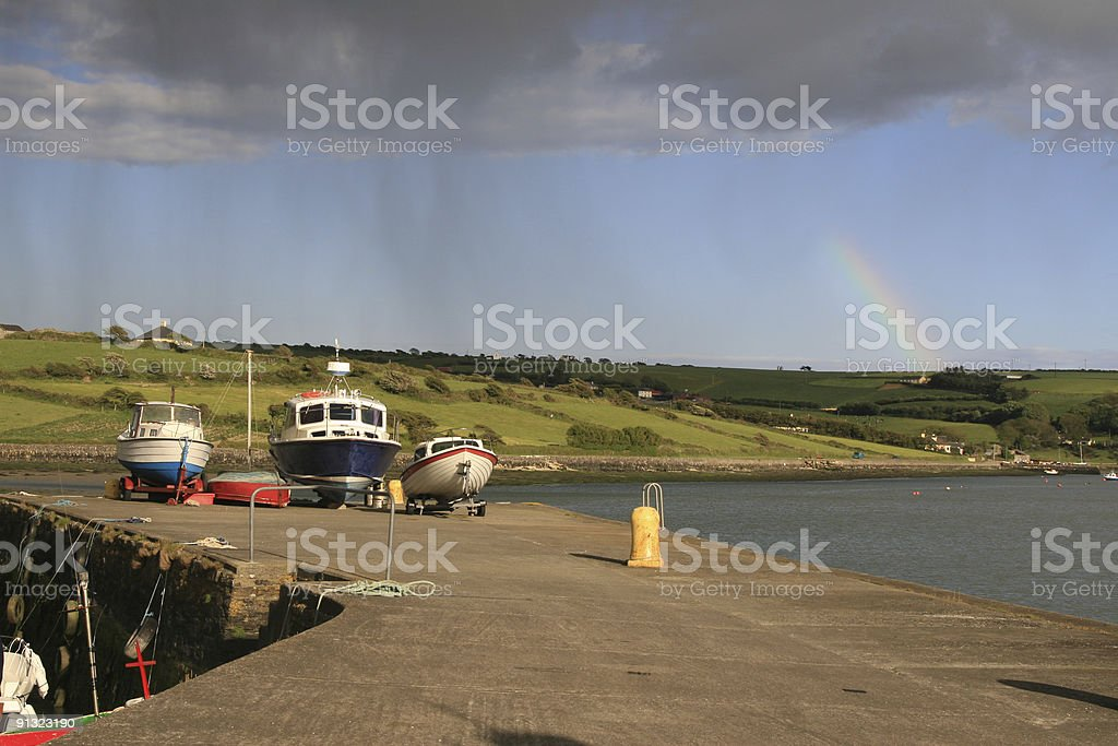 Jetty with boats, County Cork, South West Ireland stock photo