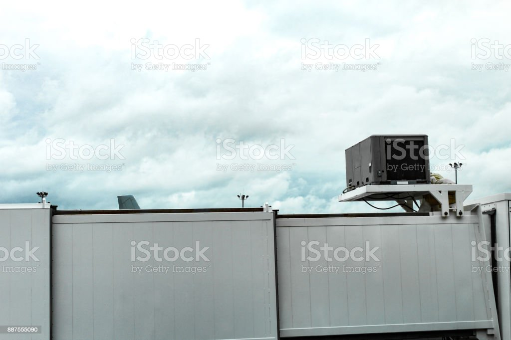 Jetway on a cloudy day at Boston Logan Airport, May 15 2017 stock photo