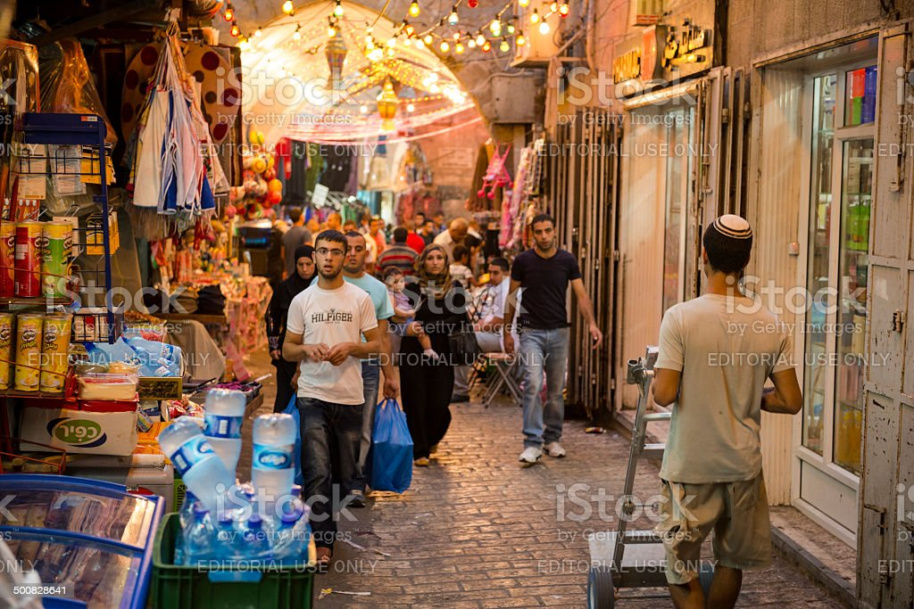 Jew and Arab in Jerusalem's Muslim Quarter stock photo