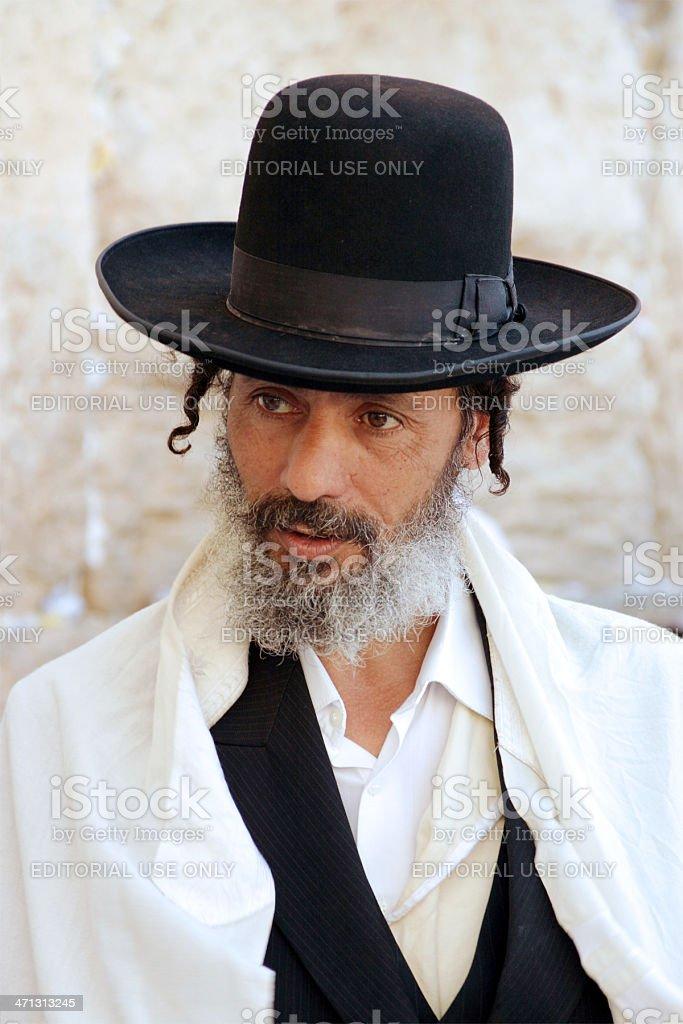 Jew at the Western Wall, Jerusalem, Israel stock photo