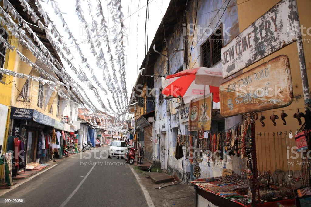 Jew town in Mattancherry, Kochi, Kerala, India stock photo