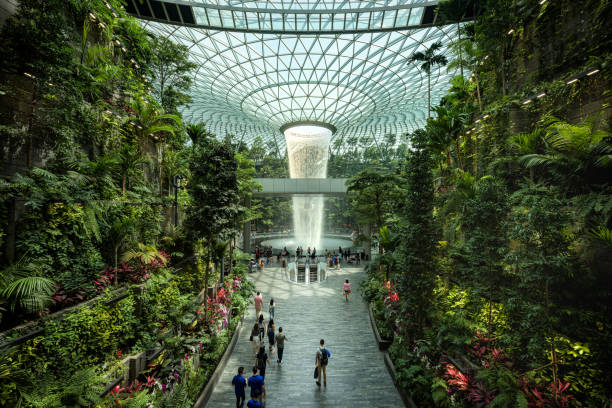 Jewel Changi Airport in Singapore, a glass dome with indoor waterfall and forest, shopping mall stock photo