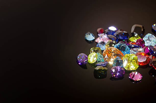 Jewel or gems on black shine color, Collection of Jewel or gems on black shine color, Collection of many different natural gemstones  precious gem stock pictures, royalty-free photos & images