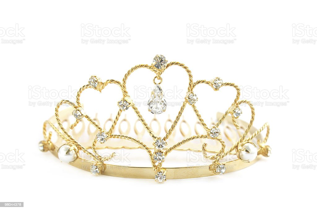 Jeweled crown in gold and white gems on white background stock photo