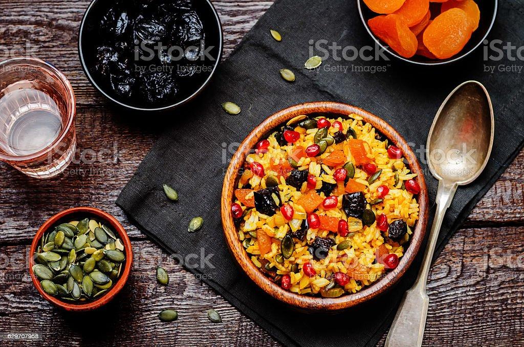 Jeweled Rosh Hashanal rice stock photo