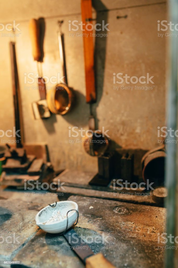 Jeweler tools in a furnace used to craft jewelery royalty-free stock photo