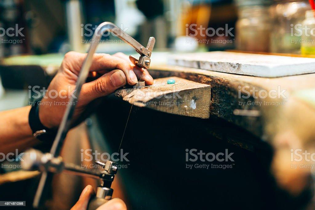 Jeweler working stock photo