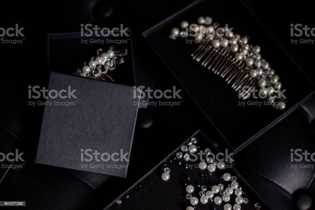 Jewelery from beads in box. stock photo