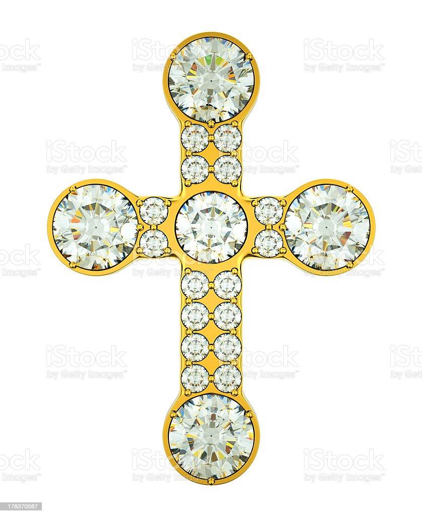 Jewelery: golden cross with diamonds isolated stock photo