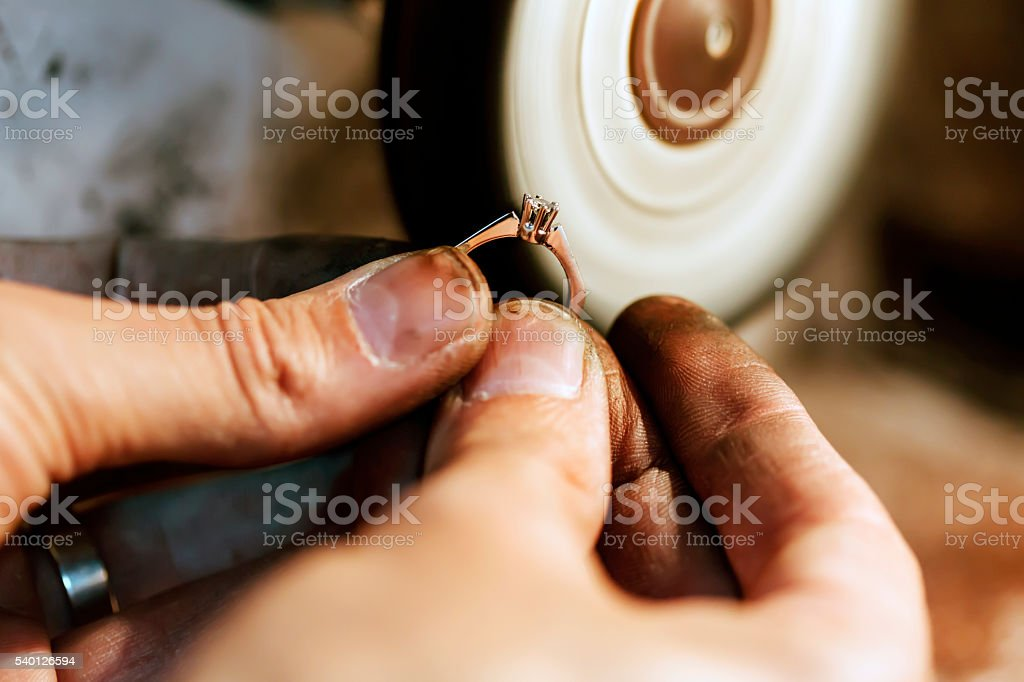 Jewelery polishing ring stock photo
