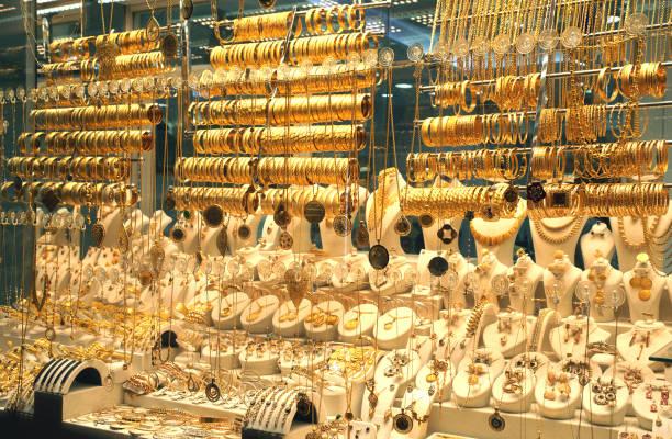 Jewelery showcase- Jewelery store window Jewelery Shop in Grand Bazaar jeweller stock pictures, royalty-free photos & images