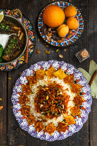 istock Jewelled rice with lamb and fruits, top view 932450830