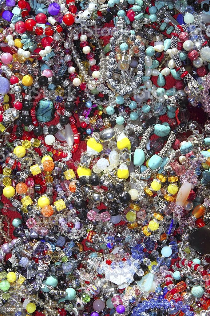 jewellery mixed colorful many jewels plastic jewelry royalty-free stock photo