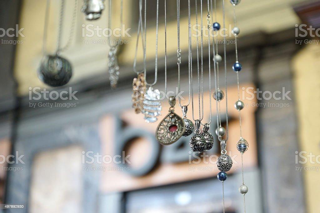 Jewellery on a street market in Torino stock photo