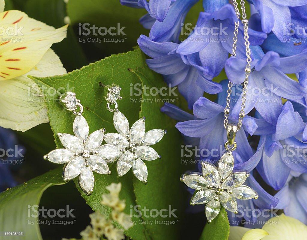 Jewellery on flowers royalty-free stock photo