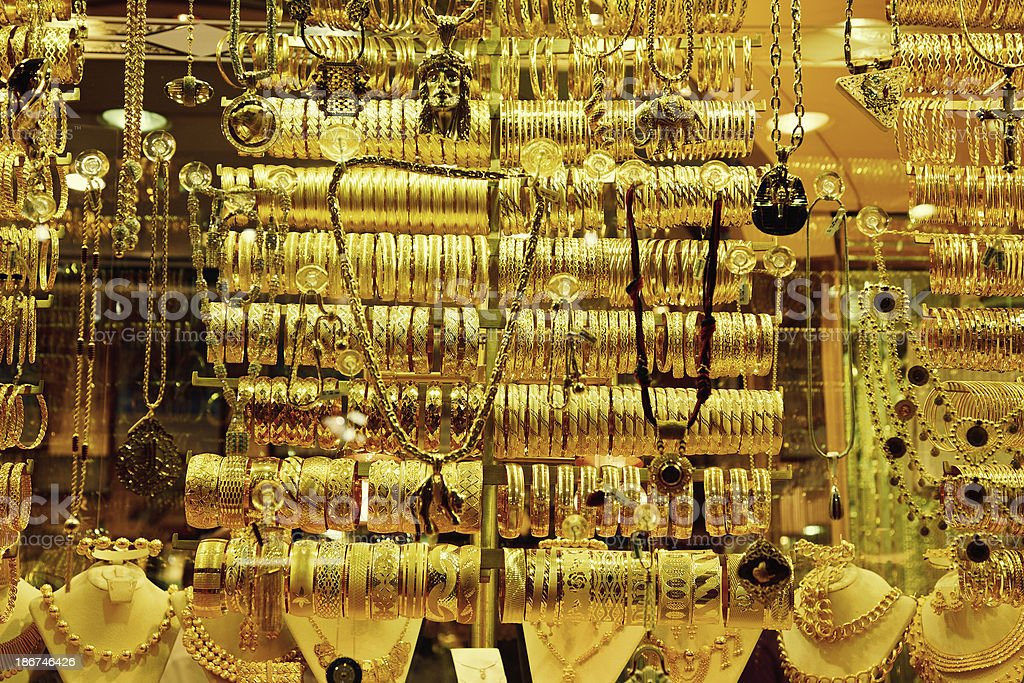 Jewellery Store Display In The Grand Bazaar Istanbul Turkey Stock