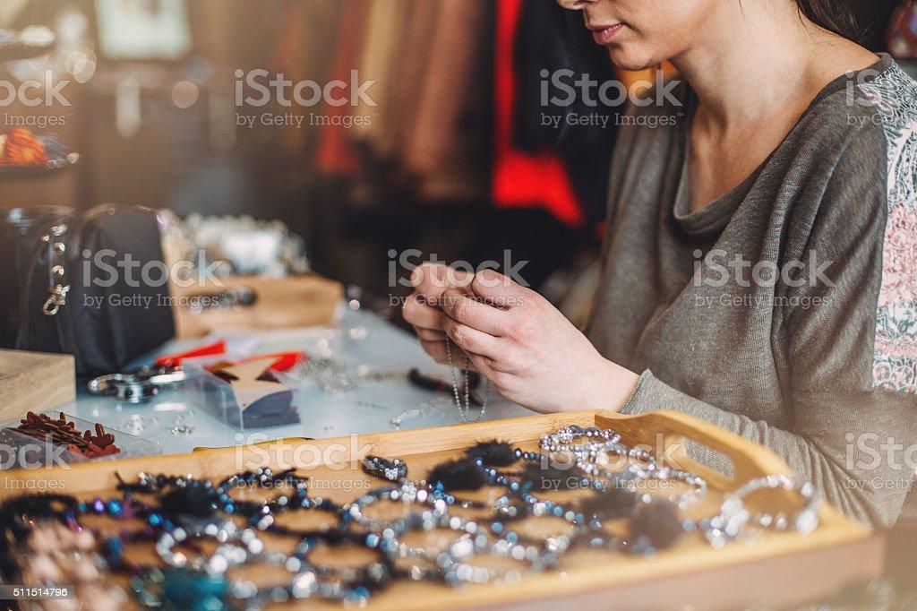 Jewelry artisan working stock photo