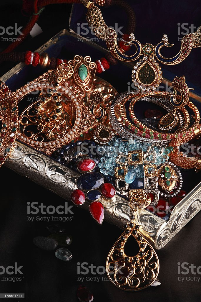 Jewelry Box Full Of Modern And Indian Style Gold Jewels Stock Photo