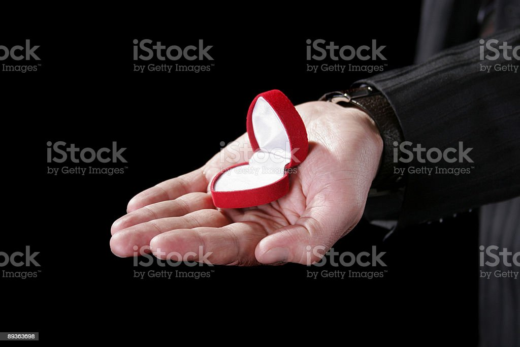 jewelry box on the man hand royalty-free stock photo