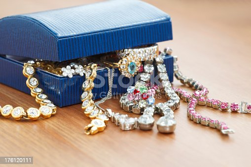 istock A jewelry box with jewelry overflowing on a wooden table 176120111