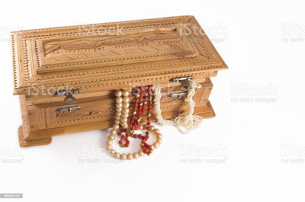 Jewelry box with jewels hanging out royalty-free stock photo