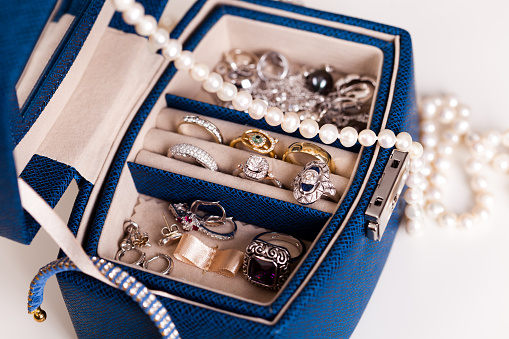 Jewelry Box with White Pearls