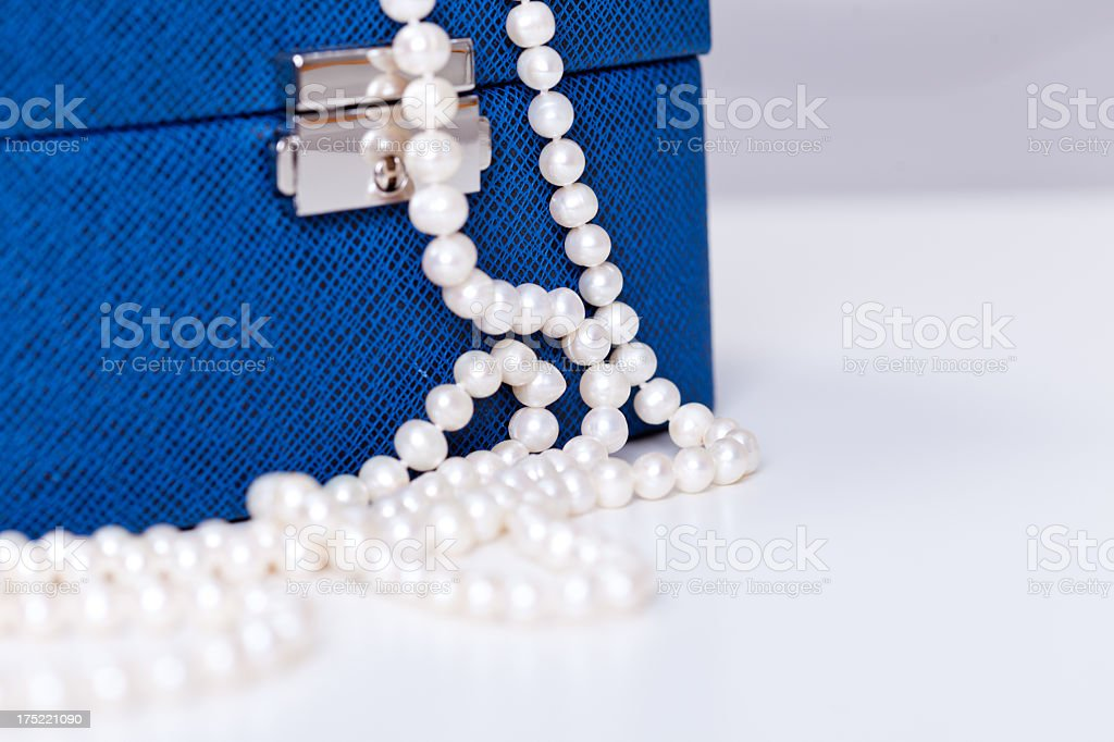 Jewelry Box with White Pearls royalty-free stock photo