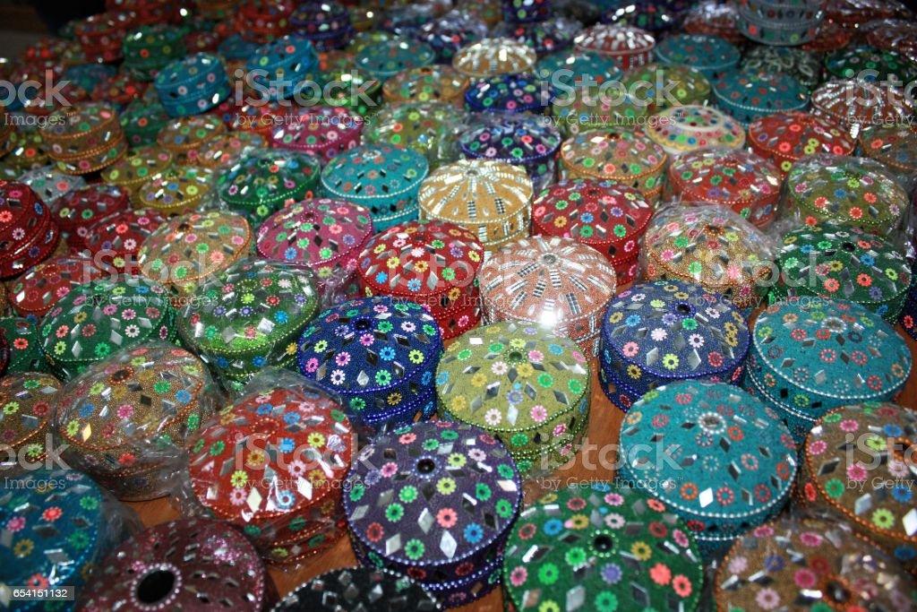 Jewelry boxes on the market in Amman, Jordan stock photo