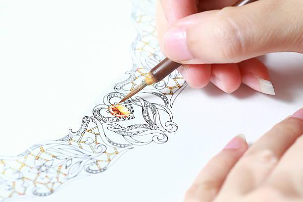 création de bijoux - croquis de stylisme de mode photos et images de collection