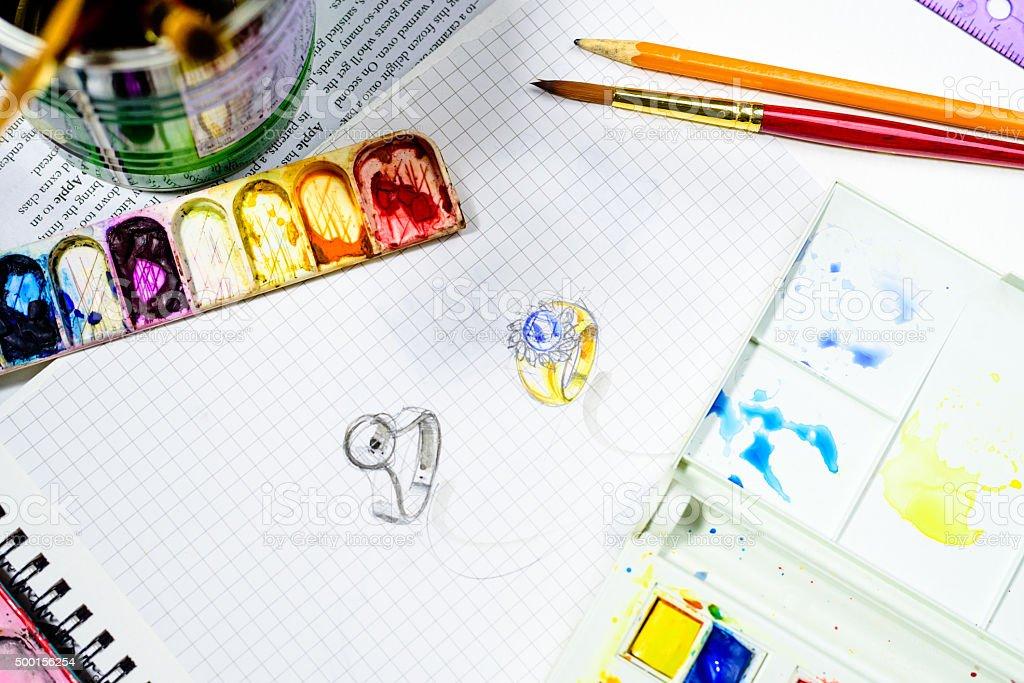 Fotografía de Joyas Acuarela De Diseño Dibujo Sobre El Libro Blanco ...
