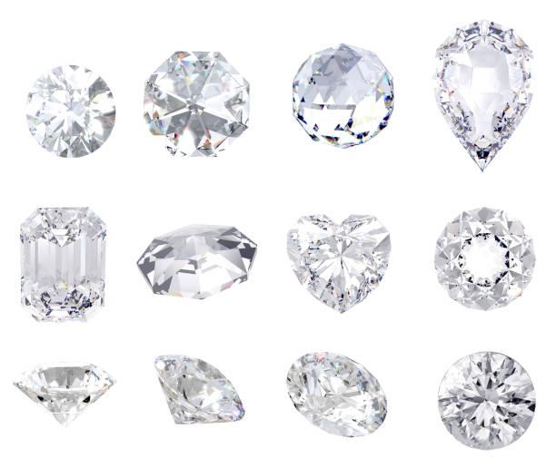 sieraden diamant en edelsteen op duidelijke achtergrond - diamant stockfoto's en -beelden