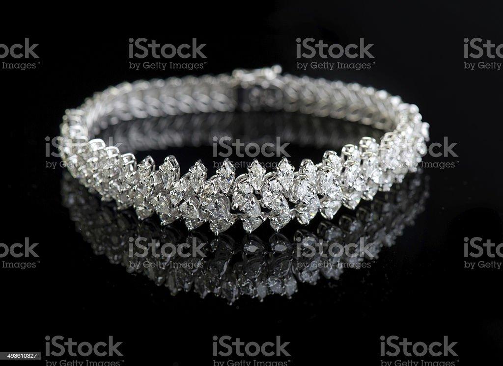 Jewelry diamond bracelet on a black background stock photo