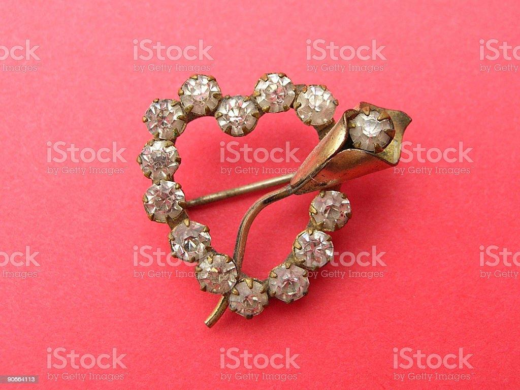Jewelry: Diamond heart with rose. royalty-free stock photo