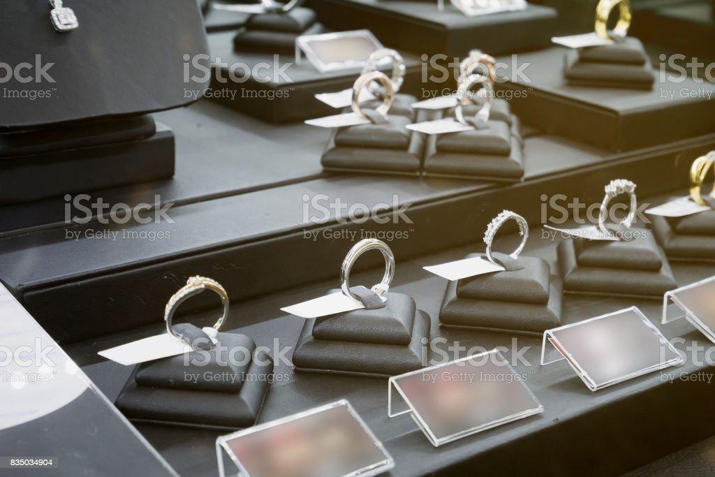 jewelry diamond shop display stock photo