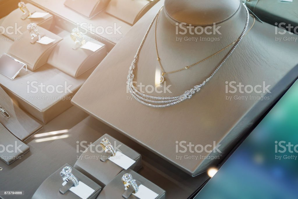 jewelry diamond shop with rings and necklaces luxury retail store...