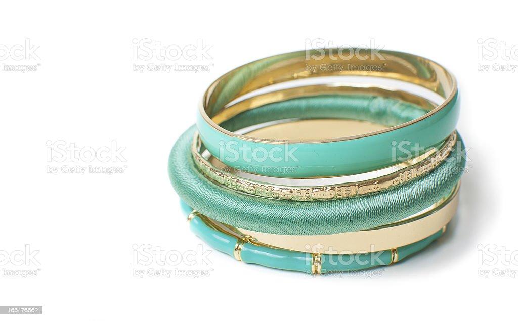 jewelry, five elegant women's bracelets, isolated stock photo