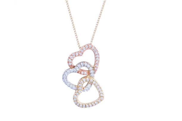 jewelry gold heart-shaped necklace with diamonds. - ожерелье стоковые фото и изображения