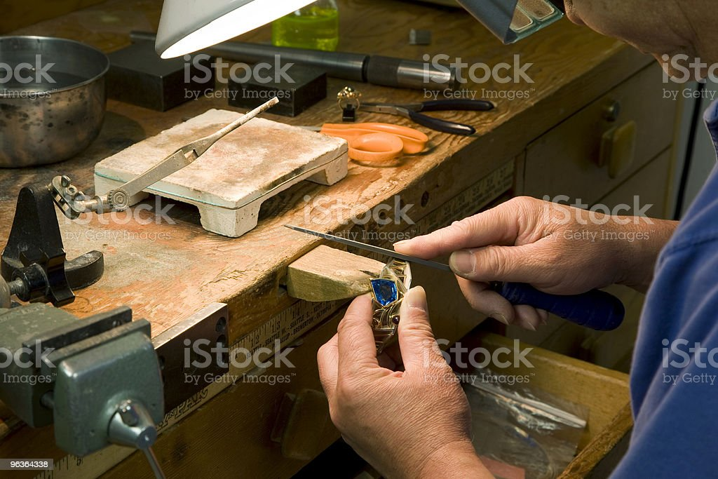 Jewelry maker at work royalty-free stock photo