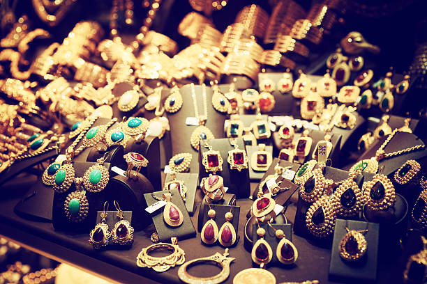 Jewelry market in Istanbul, toned stock photo