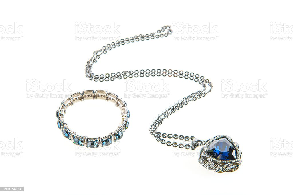 jewelry necklace and bracelet set stock photo
