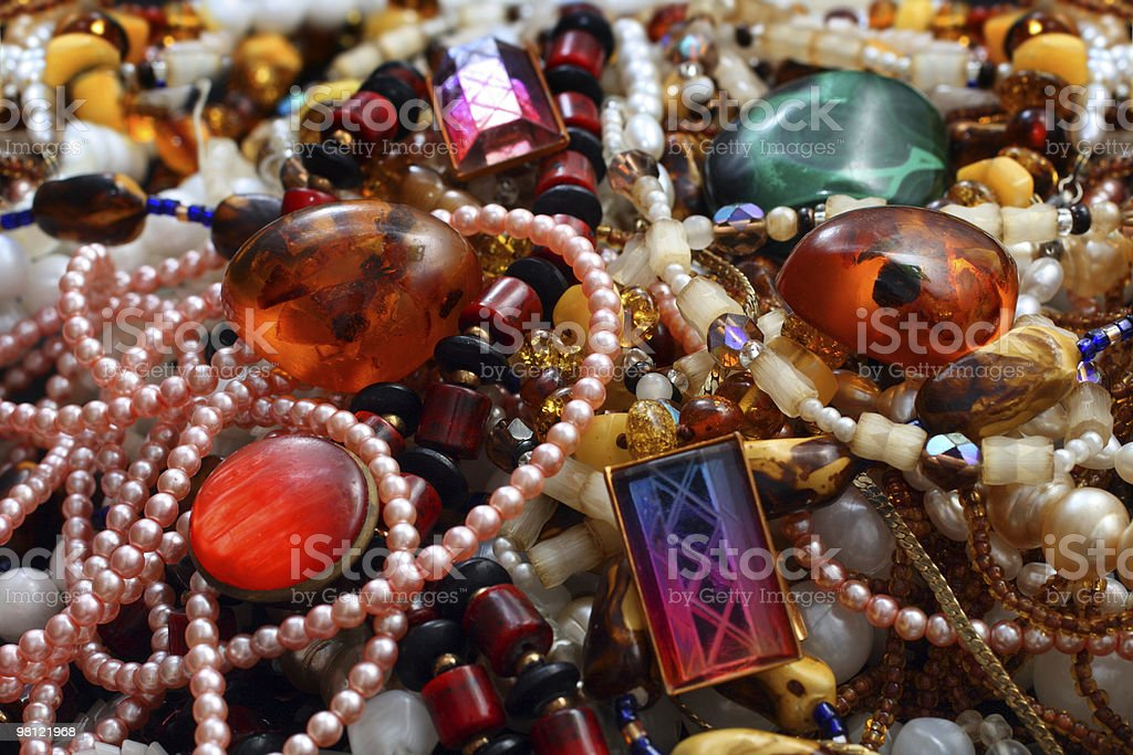 jewelry necklace and gems royalty-free stock photo