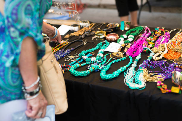 jewelry on display at street festival - art and craft stock pictures, royalty-free photos & images