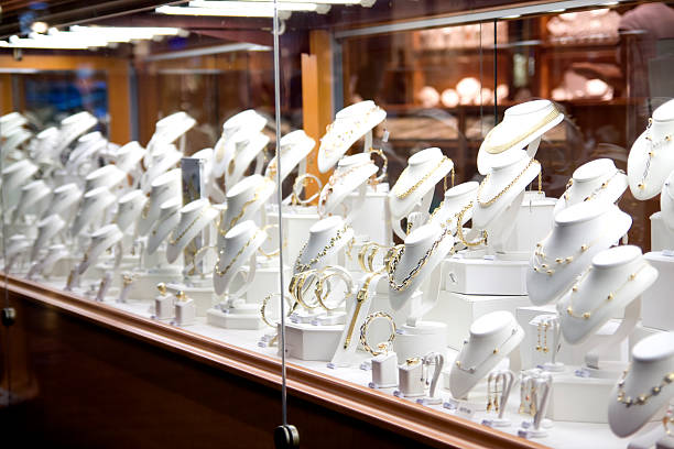 Jewelry on window display Jewelry Store. jeweller stock pictures, royalty-free photos & images