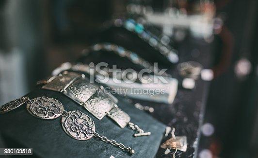 Beautiful bohemian jewelry on the wall