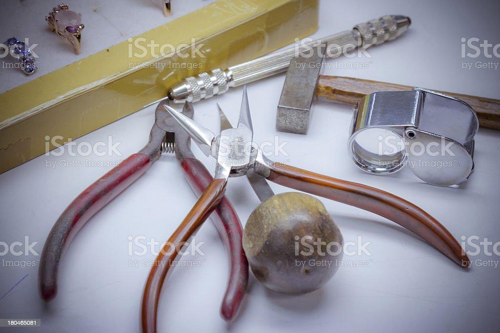 Jewelry repairing tools royalty-free stock photo
