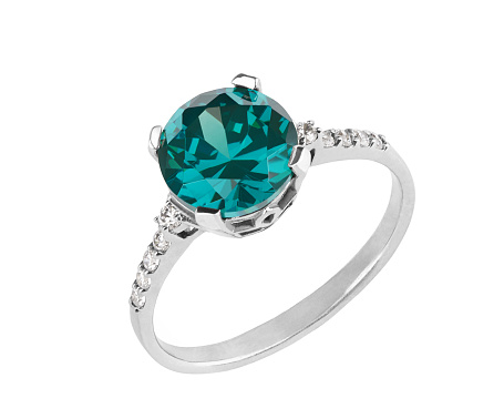 women's jewelry, beautiful Silver Ring with blue topaz, detailed gemstone closeup isolated on white